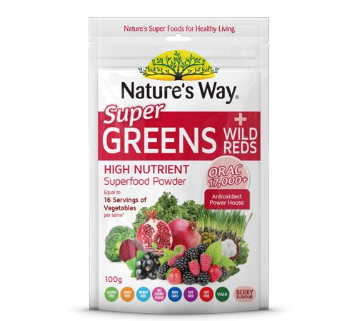 Super Greens Plus Wild Reds combines the power of Nature's Way Super greens and the Antioxidant goodness of red berries and fruits for a whopping ORAC score of over 17,000.