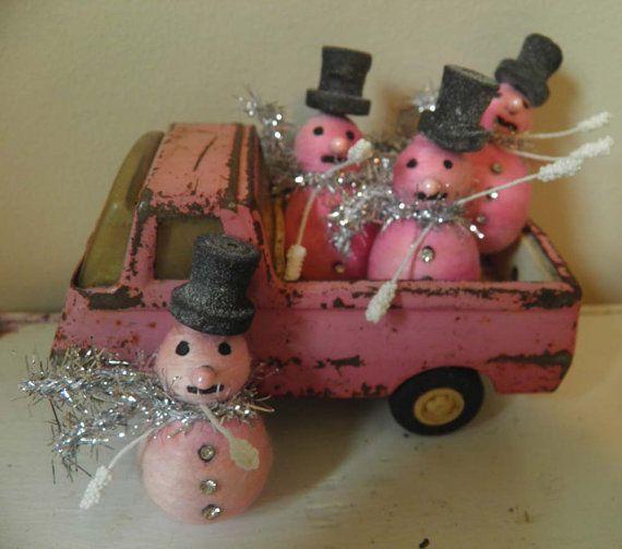 Vintage Pink Christmas Spun Cotton Snowmen by DolliesDaughter,