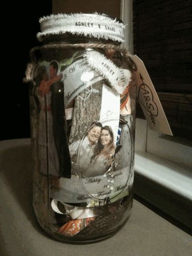 wedding jar memories.... gather scraps of fabric, photos, strips of your invitation, save the date, menu, program, ribbon, tags, etc... and toss in a mason jar! Great way to preserve your wedding memories!