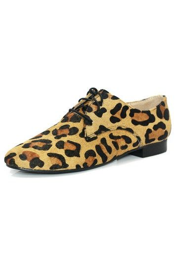 Upscale Leopard Print Horsehair Lace-up Flat Shoes [FABI1041]- US$99.99 - PersunMall.com
