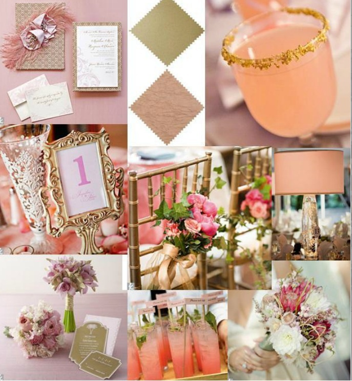 Pink, Peach, and Gold Wedding _ My Theme love is sweet, glittery and everything nice