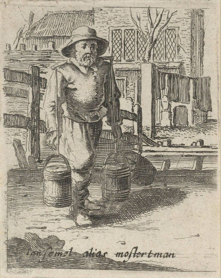 Man with Yoke Carrying Two Pails, Gillis van Scheyndel (I), 1638 | Museum Boijmans Van Beuningen