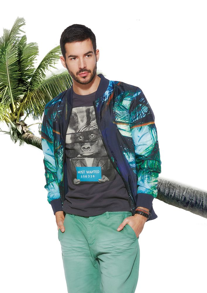 Tropical style jacket   #formen #clothing #fashion #glostory #coat #jacket #blue #funny #printed #tshirt #malemodel #palmtree