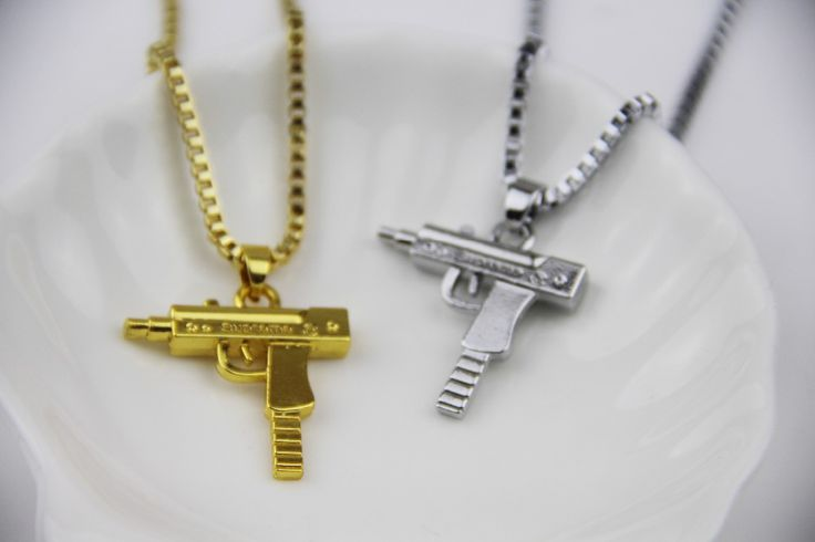 Fashion Jewelry Hip Hop Dance Charm  Gun SUPREME Necklace Star Jewelry Men Franco Chain Hiphop Golden Necklace