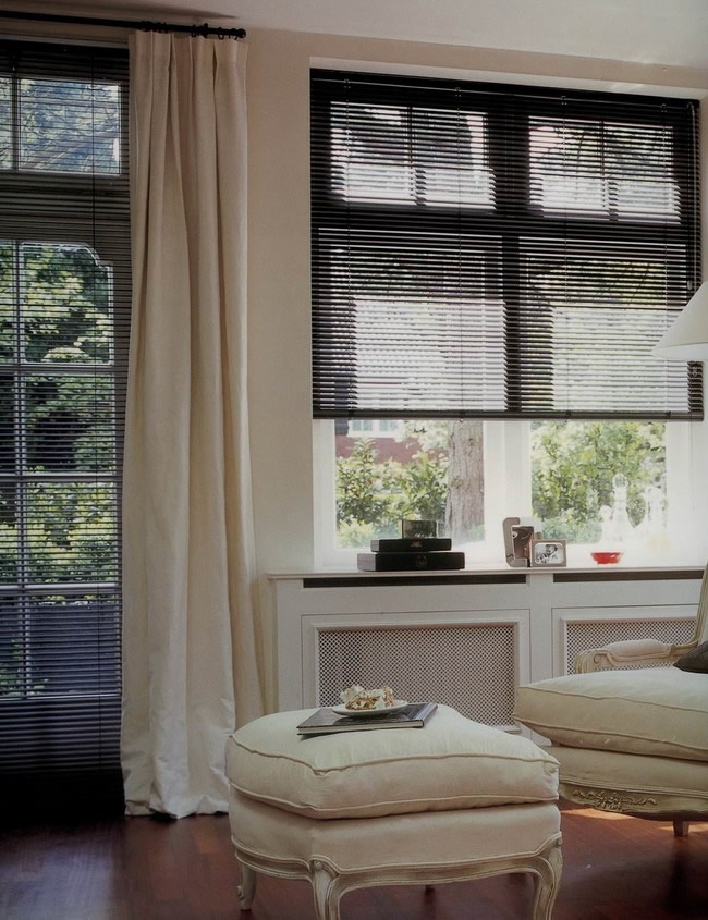 Black Blinds With Sheer White Curtains And Grey Or Taupe Walls