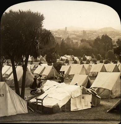 Refugee camp, Lafayette Square, San Francisco earthquake disaster, 1906