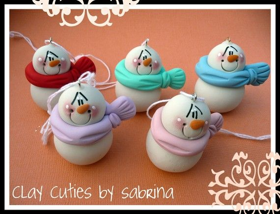 Personalized Clay Snowmen Christmas Ornaments ALL 5 via Etsy