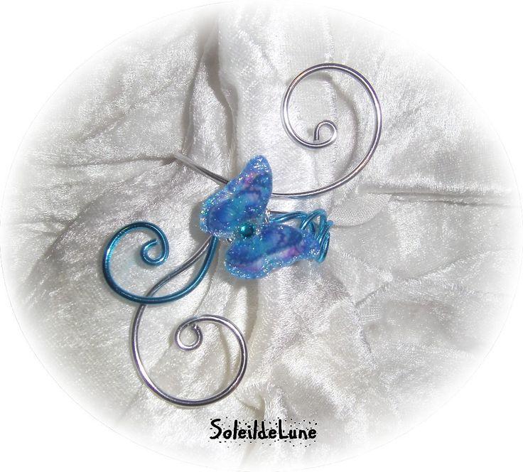 Bracelet mariage papillon bleu 3D ❀ Bracelet strass cristal turquoise Demoiselle d'honneur mariage Communion : Collier par soleildelune-bijoux-mariage