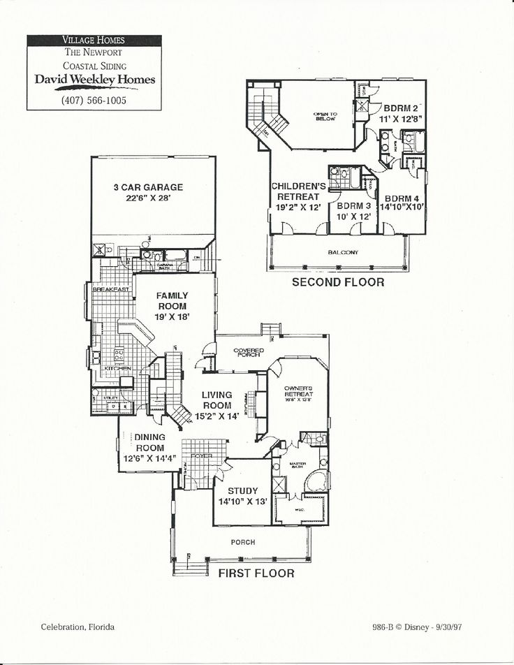 Newport coastal floor plans in celebration fl david for Home plan weekly