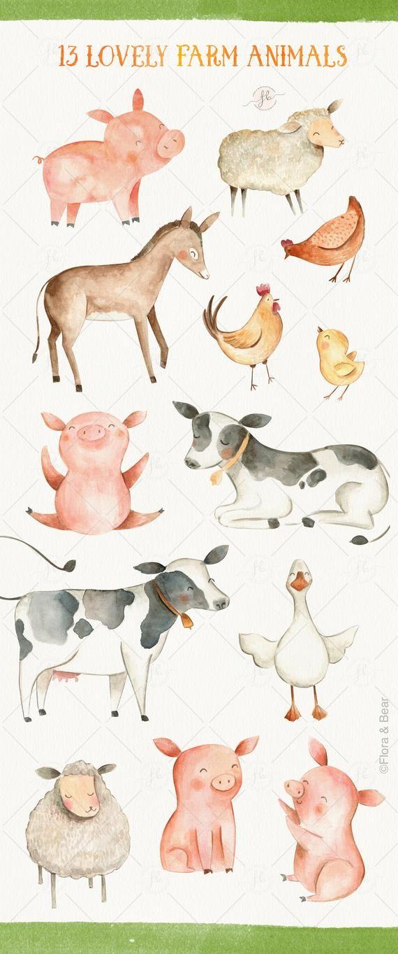 Farm Animals Watercolor Clipart Digital Download Printable Etsy Watercolor Animals Watercolor Clipart Farm Animals