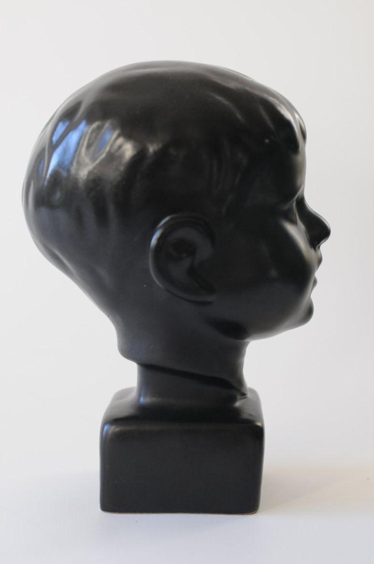 Helge Christoffersen Modern art Bust of a boy. A Decorative Ceramic Bust 1950s by FridasVintage on Etsy
