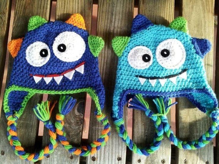 Crochet baby monster hat