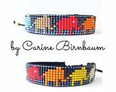 Loom beaded bracelet, Beaded bracelet, Leather bracelet, Single Wrap Leather Bracelet, Mix Beaded, handmade, bracelet