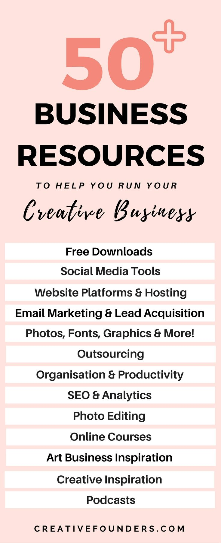 50 + Business resources to help you run your creative business. Tips for Artists, Small Business Owners, Creative Entrepreneurs. Art Business // Sell Art Online // Business Hacks // SEO // Online Courses // Free Downloads // Social Media Tools