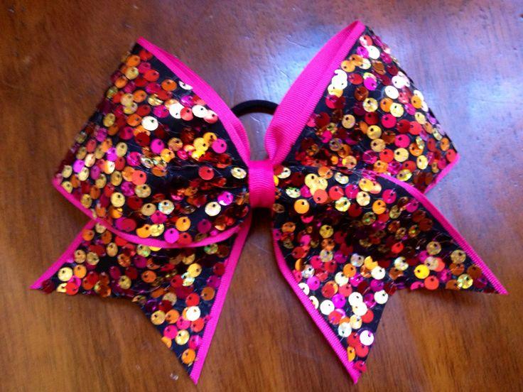 Raspberry Sunset Cheer Bow. $10.00, via Etsy.