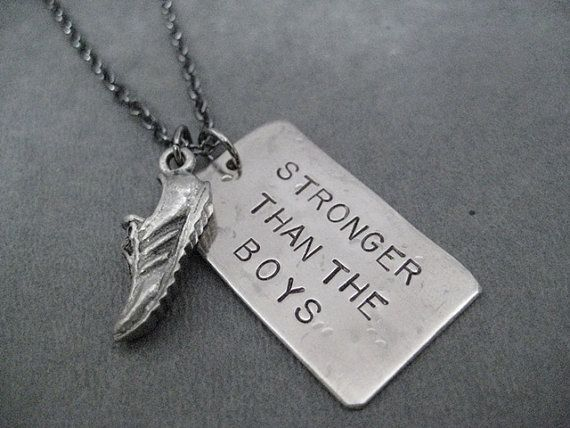 RUN STRONGER Than The BOYS Running Shoe Necklace - Girls Running Necklace on 18 inch Gunmetal chain - Girl Power - Fast Girls - Strong Girls on Etsy, $22.00