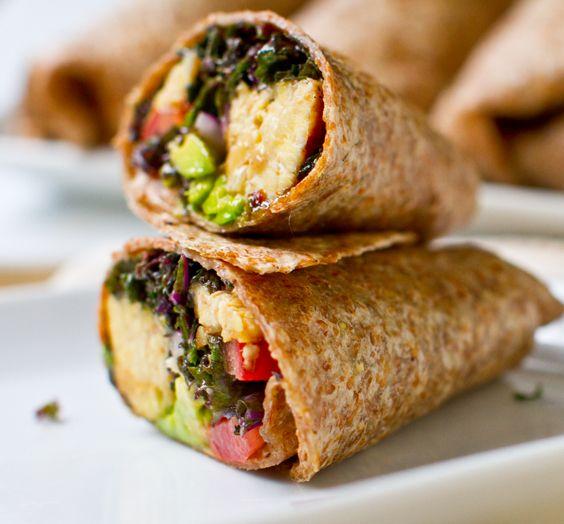 Kale Avocado Wraps w/ Spicy Miso-Dipped Tempeh.: Spicy Miso Dips, Avocado Recipes, Vegans Recipes Lunches Easy, Dinners Recipes, Kale Avocado, Miso Dips Tempeh, Avocado Wraps, Kaleavocado, Healthier Wraps