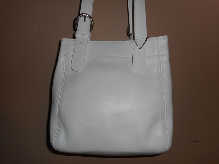 """VINTAGE COACH 10"""" x 9"""" White Leather Buckle Bag/Shoulder  Tote Bag #B8P-4157 by COACHCROSSING on Etsy"""