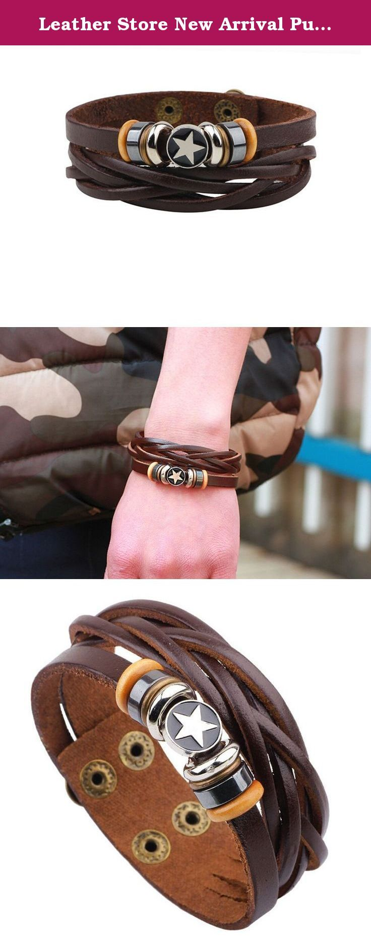 Leather Store New Arrival Punk Rivets Bicyclic Five-pointed Star Leather Wristband Bracelet. The selection of high-quality jewelry featured in Leather Store Jewelry offers great values at affordable price, they are mainly made of high quality stainless steel, tungsten, silver and leather.