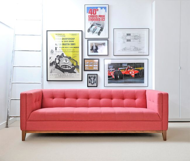 Gus Modern unveils its tufted-seat Atwood sofa in a new colour: Berkeley coral. Walnut legs give the Cali-cool couch some mid-century-modern character.