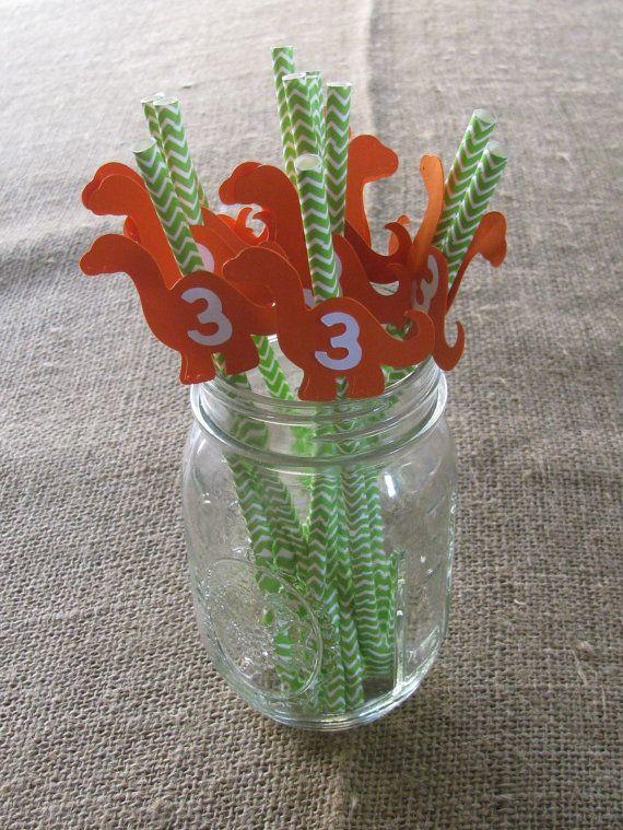Custom Birthday Dinosaur Straws by SoMuchToCelebrate on Etsy, $10.00