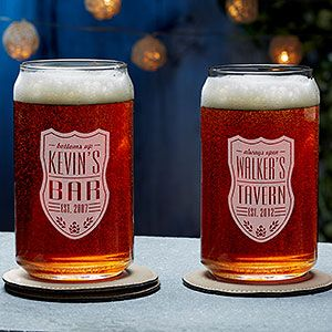 Buy beer can glasses custom engraved with your own text! Customize our exclusive Beer Label design to make it yours. Free personalization & fast shipping.