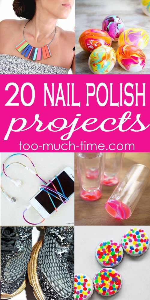 20 nail polish crafts and projects from Too Much Time on My Hands
