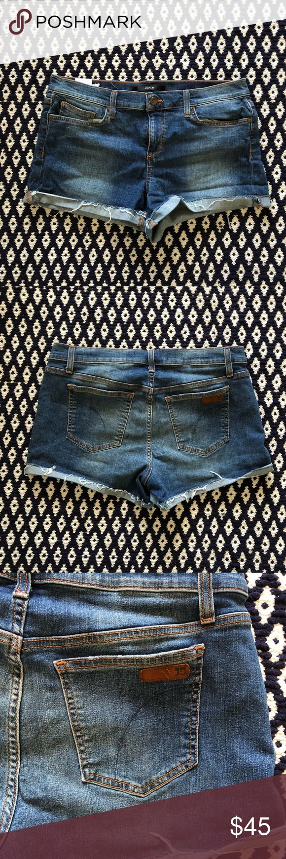 Joe's Jeans cutoff shorts Classic Joe's Jeans cutoff jean shorts with signature design on back pocket. Perfect boyfriend look, great with a belt to shrink the waist! Joe's Jeans Shorts Jean Shorts