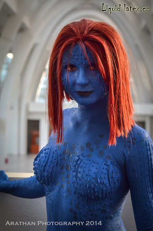 Mystique latex prosthetics & bodypainting cosplay mask