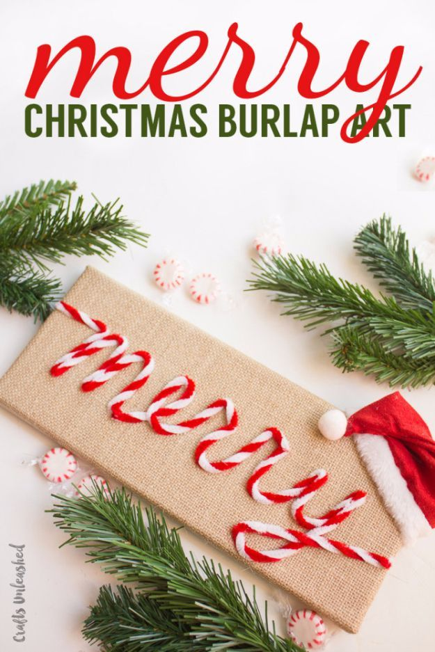 Best DIY Ideas for Wintertime - Merry Christmas Burlap Art - Winter Crafts with Snowflakes, Icicle Art and Projects, Wreaths, Woodland and Winter Wonderland Decor, Mason Jars and Dollar Store Ideas - Easy DIY Ideas to Decorate Home and Room for Winter - Creative Home Decor and Room Decorations for Adults, Teens and Kids http://diyjoy.com/diy-ideas-wintertime