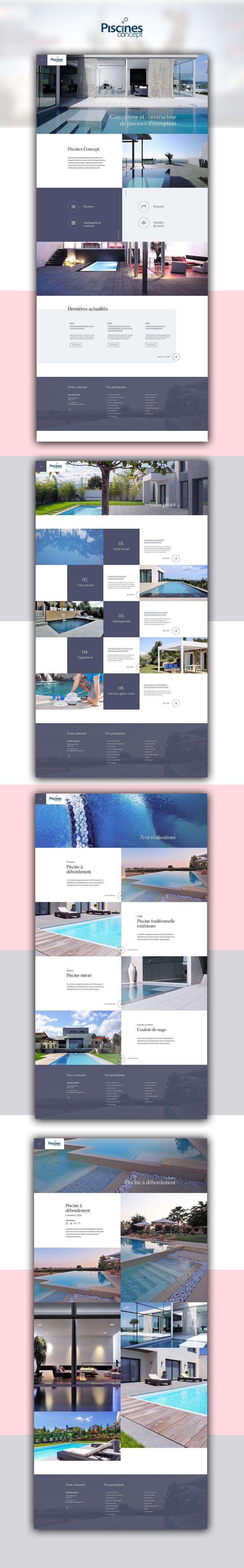 Maquette web — Piscines Concept #webdesign #website #design #piscine #swimming #pool #blue #template