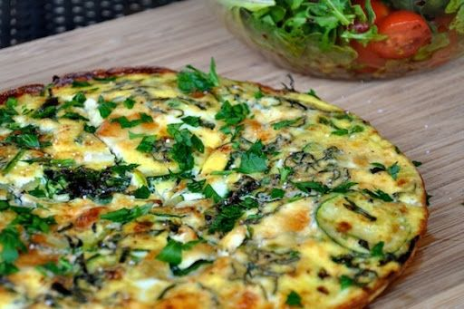 Spring Vegetable Frittata With Large Eggs, Egg Whites, Milk, Salt, Ground Black Pepper, Brie Cheese, Unsalted Butter, Zucchini, Frozen Peas, Fresh Spinach, Green Onions, Minced Garlic, Fresh Thyme Leaves, Fresh Parsley Leaves, Green Onions