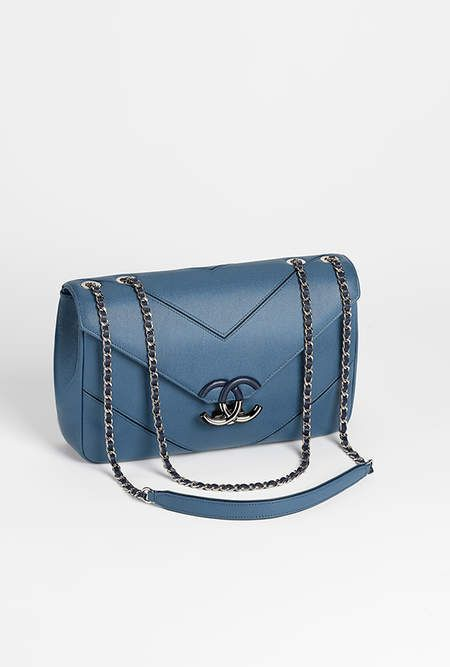 Flap bag, grained calfskin & silver-tone metal-blue - CHANEL