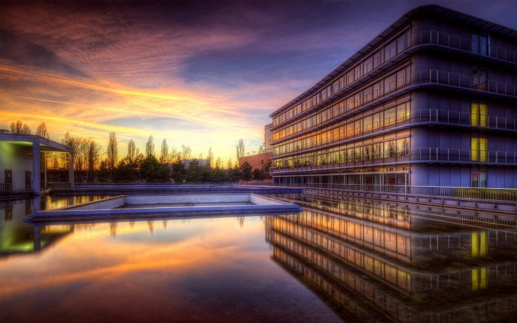 sunset clouds cityscapes architecture buildings HDR photography swimming pools reflections