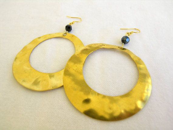 Hollow round brass hook earrings Hammered brass hook by GIASEMAKI