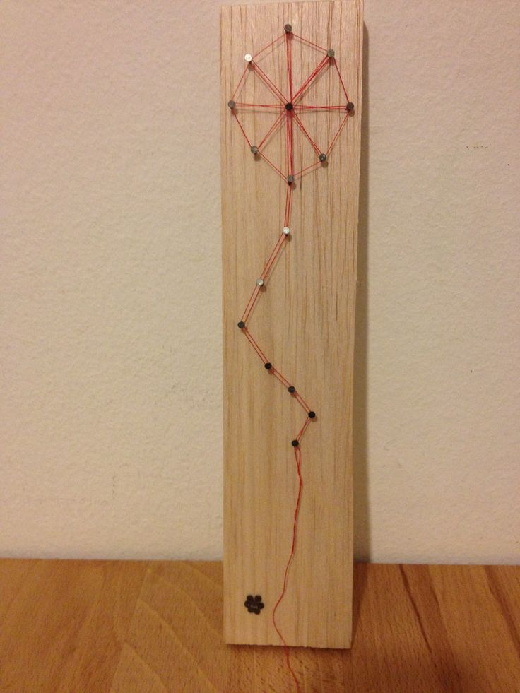 my kite!!!! made from wood, red thread and nails