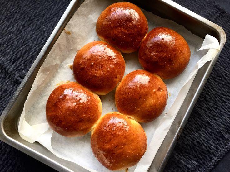 Delicious golden brioche buns