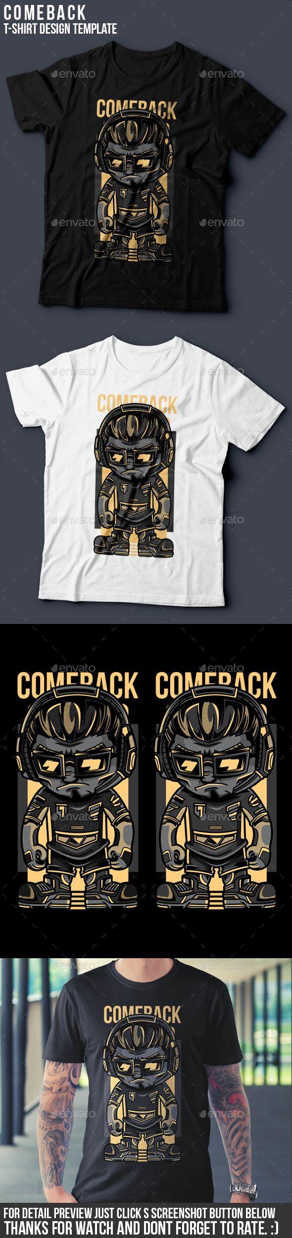 Car body sticker design eps - Comeback T Shirt Design