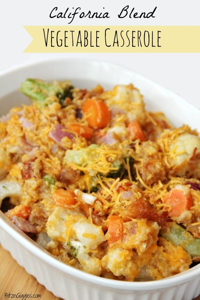 California Blend Vegetable Casserole - hmm... California blend is broccoli florets, cauliflower florets and baby carrots. Mayonnaise? Ok...