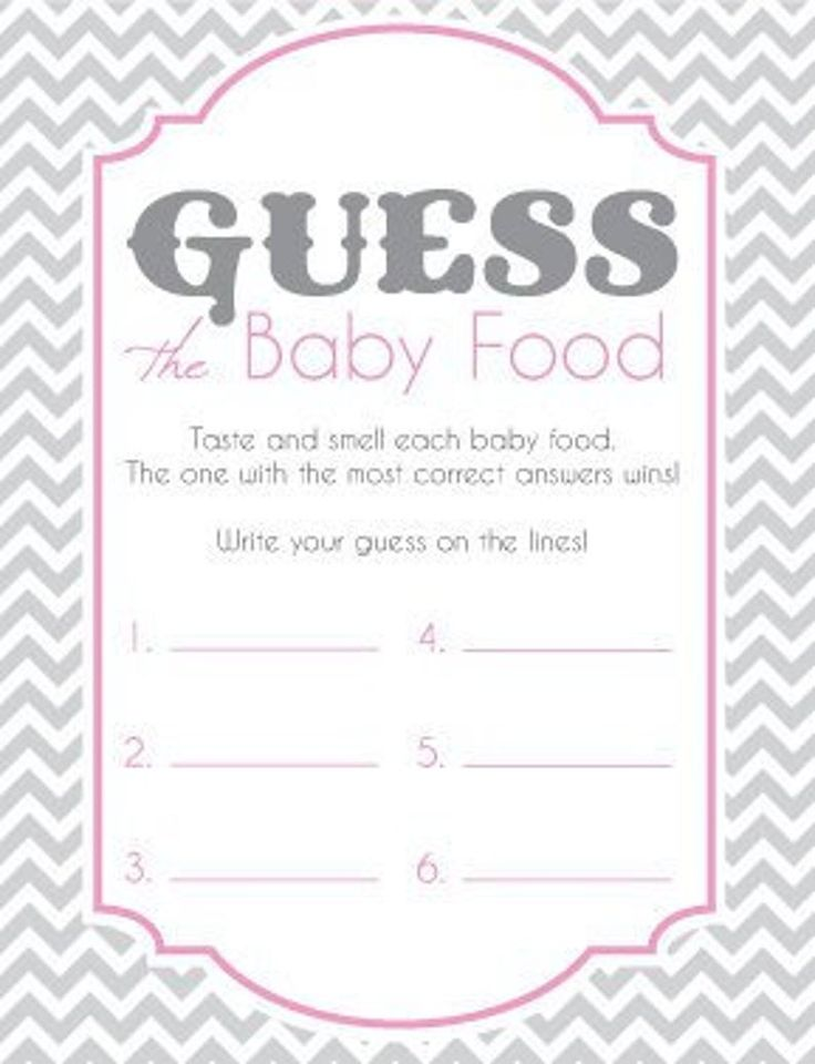 Baby Shower Game Cards for Guess the Baby Food Game