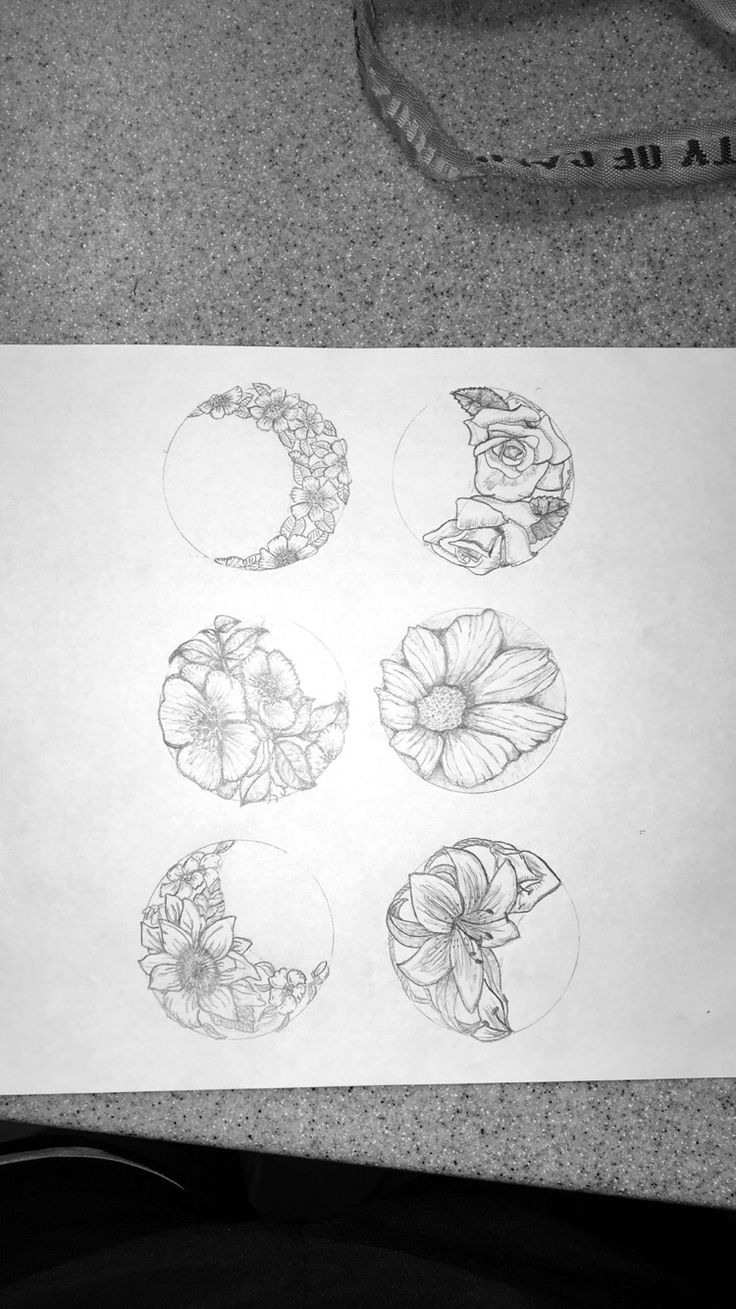 I'd like to get a tattoo of the moon phase each of my family members were born under, and I love these beautiful floral moons.