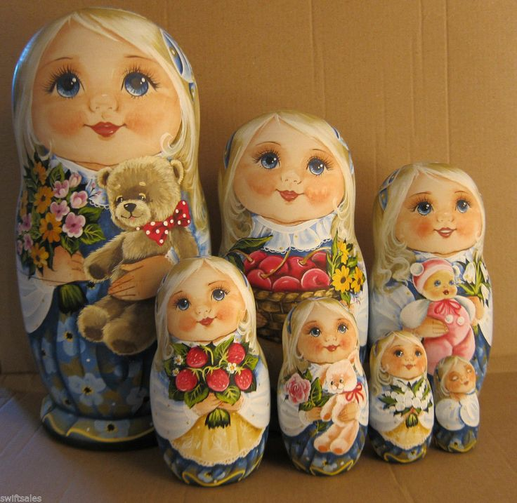 Unique Big Russian Wooden Nesting Dolls Russian Matryoshka 7 Pieces | eBay