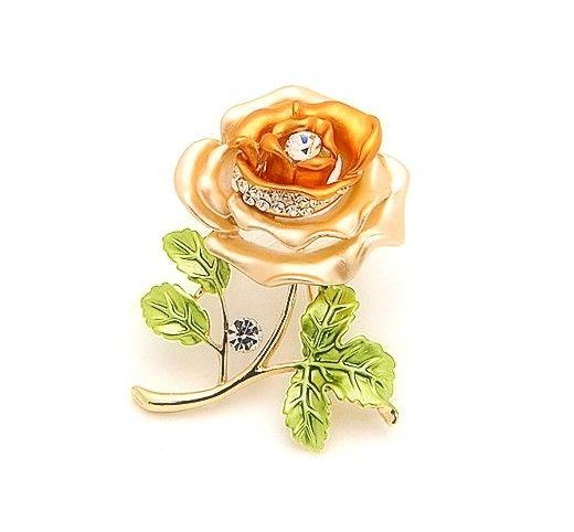 Luxusná brošňa v tvare oranžovej ruže