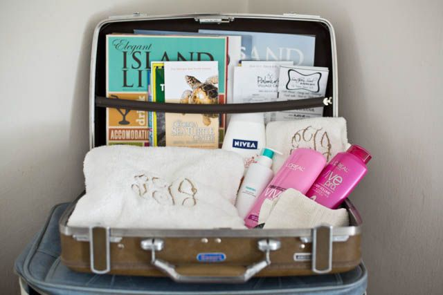 vintage suitcase as a welcome basket for overnight guests | hello there home