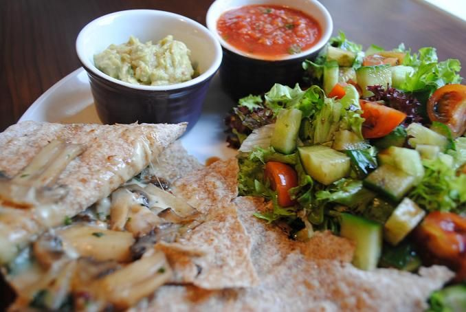 Hungry Healthy Happy - Garlic Mushroom Quesadillas - My never ending quest for making Mexican food that rivals this little Mexican hole in the wall in San Diego that I had the BEST potato tacos brought me to Mexican bikini body, bikini diet, bodyrock, calories, cardio, couch to 5k, detox, diet, emotional eating, exercise, fat, fitness, fitspiration, food, health, healthy, healthy mexican, hungry healthy happy, inspiration, lifestyle, low fat mexican, maintenence, mexican, obesity, recipe…