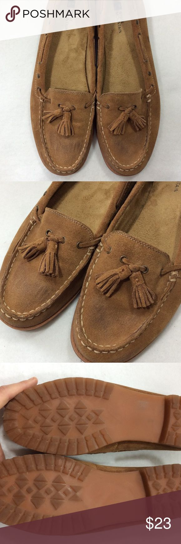 Tan Suede Loafers Perfect for the office or casual, these tan Suede Loafers are versatile and comfortable Loafers. Tassel accent on toe, cream top stitching. Minor scuffing on toe, in otherwise great condition. Leather upper, rubber sole. True to size 10 by White Mountain Shoes Flats & Loafers