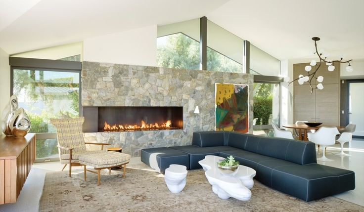 A B&B Italia BEND Sectional Sofa (Patricia Urquiola) keeps the cliche out of a mid-century modern interior.