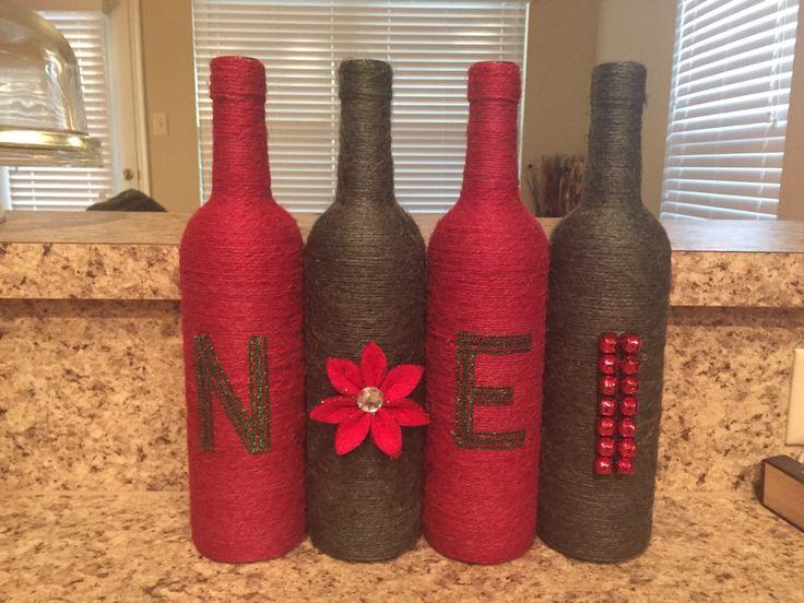 Christams twine wrapped wine bottles. Noel. Holiday decor. Gift. by KrystalsCraftCorner on Etsy https://www.etsy.com/listing/248111641/christams-twine-wrapped-wine-bottles