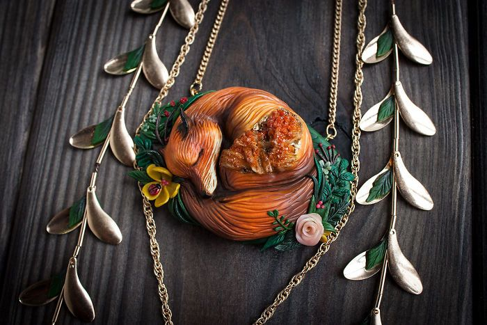 Mythical Animal Jewelry That I Make Using Various Minerals And Polymer Clay | Bored Panda