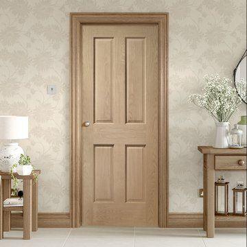 Bespoke Victorian Oak 4 Panel Door without Raised Mouldings. #interiordoor #panelleddoor #traditional #oakdoor